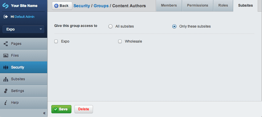 Group subsites access